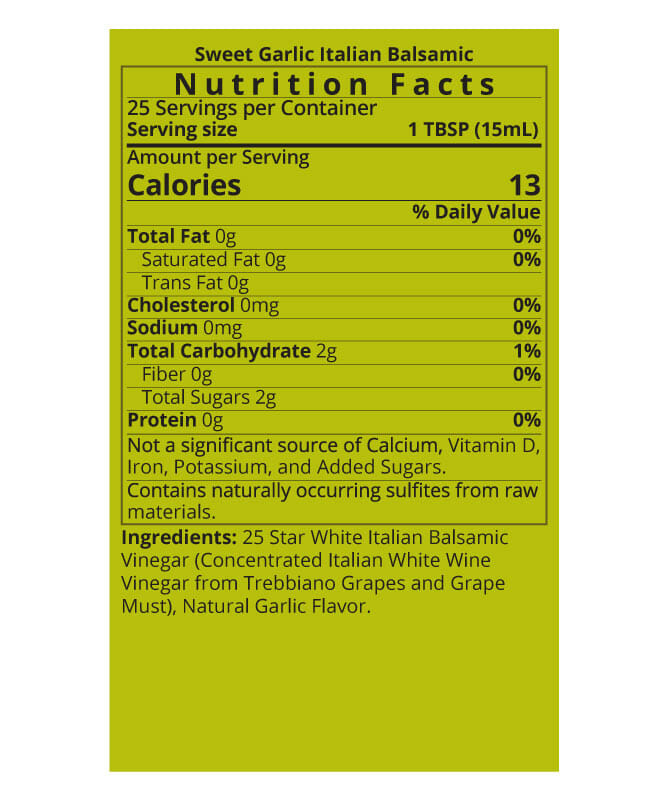 Sweet Garlic White Balsamic Vinegar Nutrition Facts