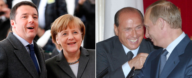 "La sfida della ""strana coppia"" Silvio-Vladimir al duo Renzi-Merkel"