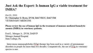 Is human IgG a viable treatment for IMHA?