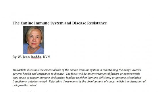 The Canine Immune System and Disease Resistance