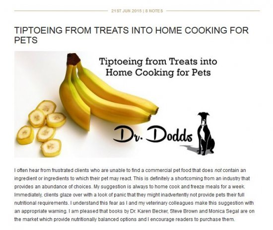 Dr. Dodds Tiptoeing Treats To Home Cooking