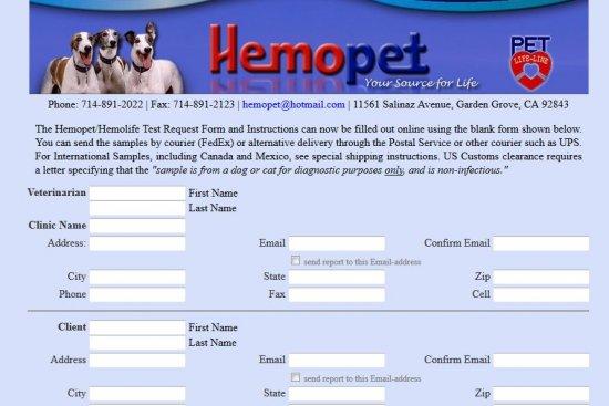 Hemopet Test Request Form