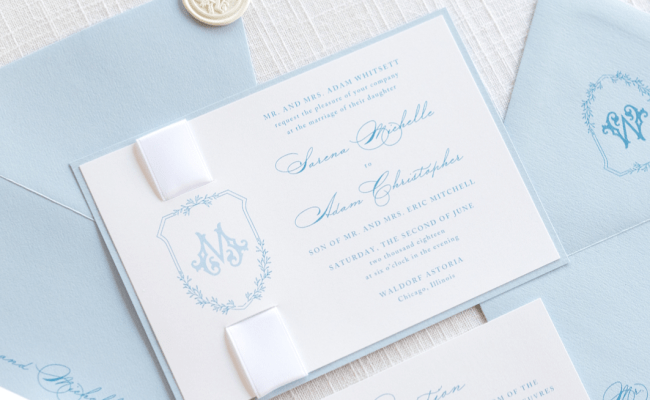 Elegant Formal Monogram Crest Wedding Invitation With