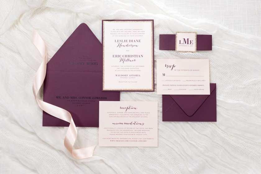 Burgundy Wedding Invitation Pictured Envelope Color Fig Paper Colors Blush Metallic And Rose Gold Glitter