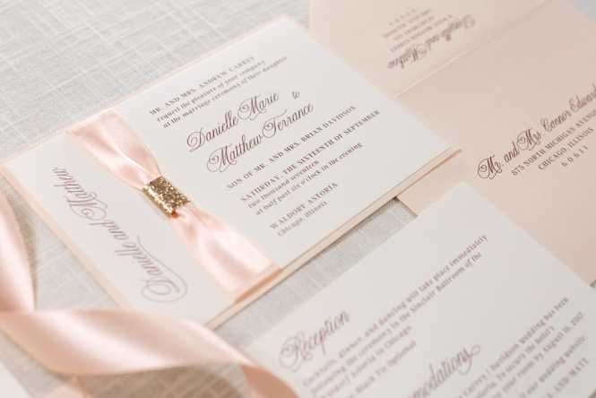 Great Blush Pink Dusty Rose Gold Fl Wedding Invite With Joined Jewel And Glitter