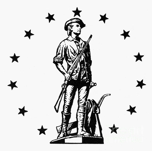 Second Continental Army » Minuteman Black and White #2