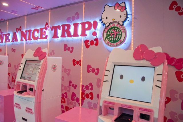 Hello Kitty kiosks for Eva Air, Taipei Airport. Alas, I did not get to check in on one of these.