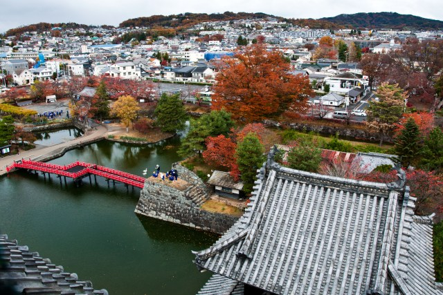 View of Matsumoto from the top of the castle - November Japan