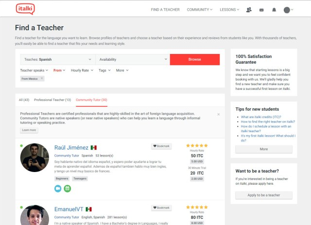 Finding a Spanish tutor from Mexico on iTalki