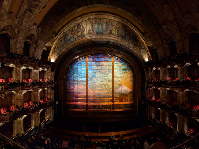 Tiffany mosaic glass curtain, auditorium, Palacio de Bellas Artes, Mexico City