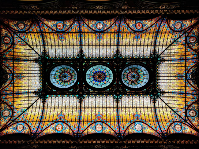 Tiffany stained-glass ceiling, lobby, Gran Hotel Ciudad de México
