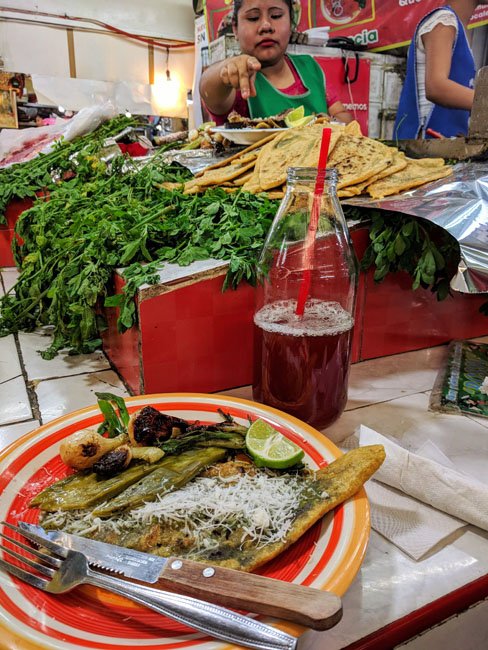 Huarache and tepache (fermented pineapple drink), Huaraches Rossy, Mercado Jamaica, Mexico City