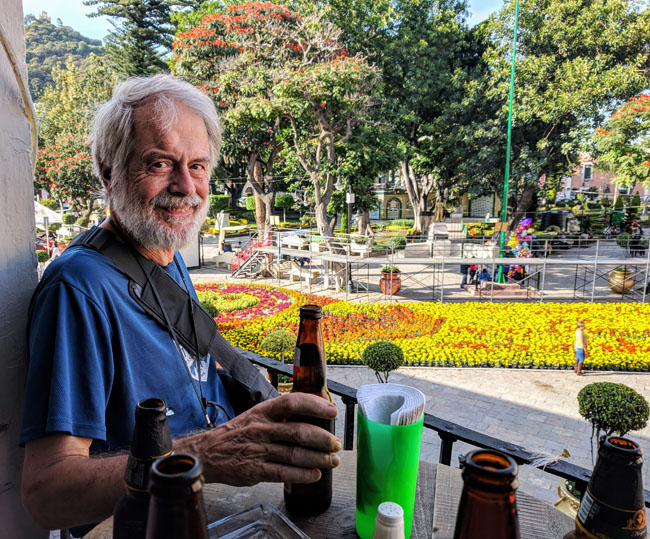 Enjoying the view over the plaza with a cold beverage on a Livit excursion to Atlixco