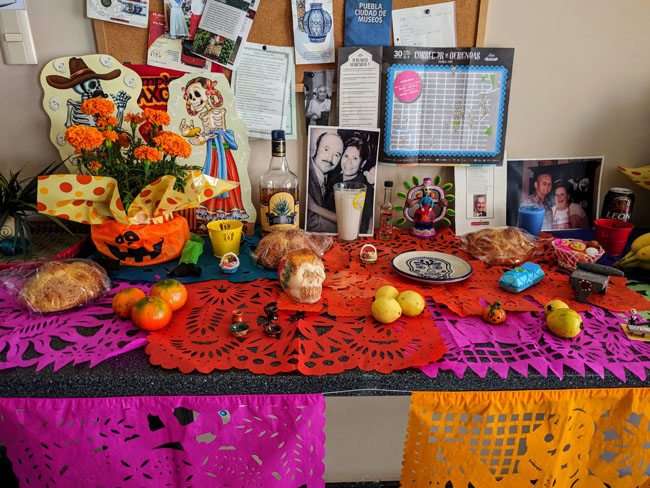 Family altar at Livit for Día de Muertos