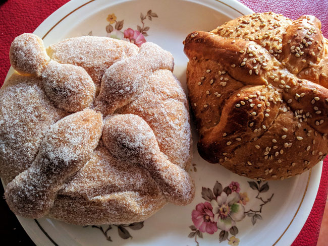 Traditional bread for Día de Muertos. My hostess made sure I got to sample lots of different traditional foods.
