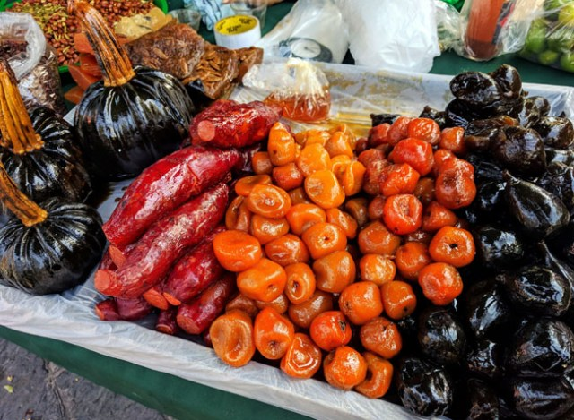 Traditional candied fruits, pumpkins, and sweet potatoes for Day of the Dead, Tlaxcala City