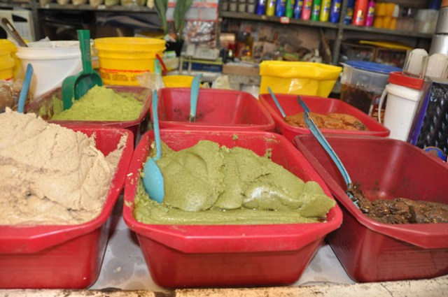 Mole paste at the market, Puebla, Mexico