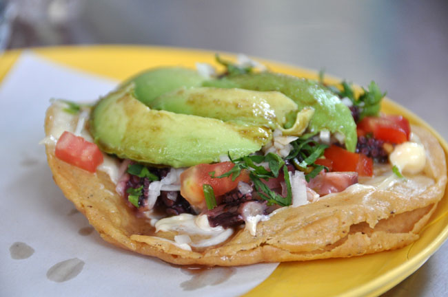 Incredible pulpo (octopus) tostada, Mexico City street food tour