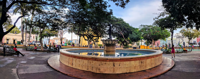 Plaza San Juan, near the school. The school is in a colorful traditional neighborhood near the center that hasn't been gentrified yet.