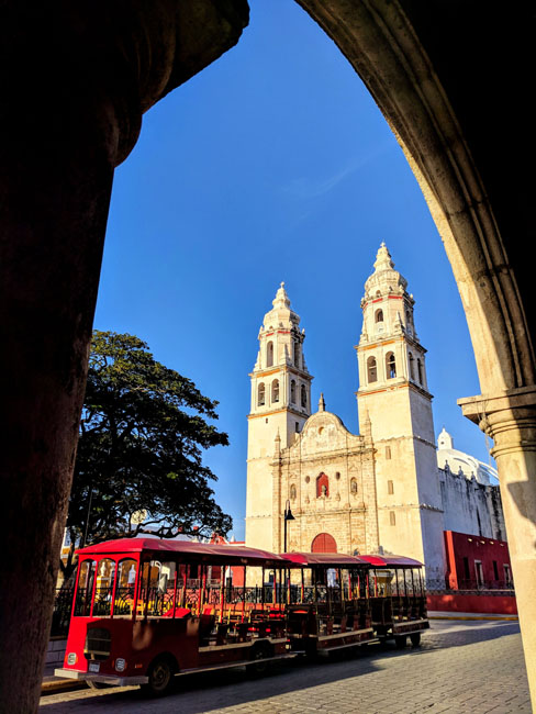 Campeche cathedral and trolley - Yucatan best places to visit