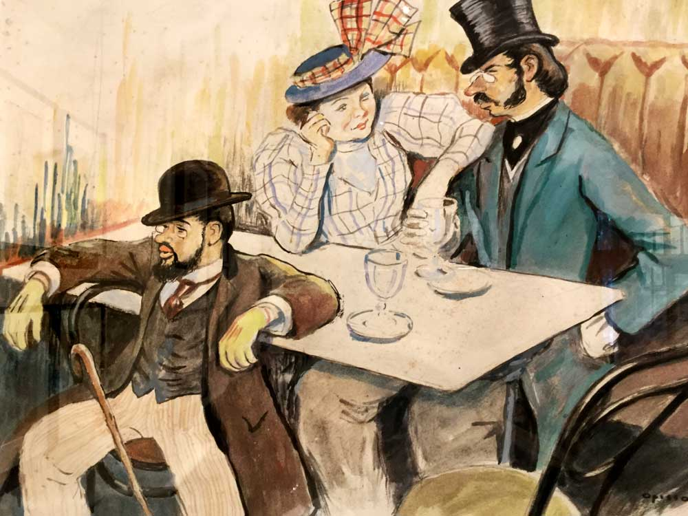 Toulouse-Lautrec in a café by Ricard Opisso