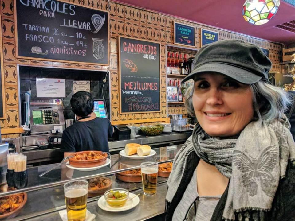 Ingrid at a tapas bar in Madrid, Spain