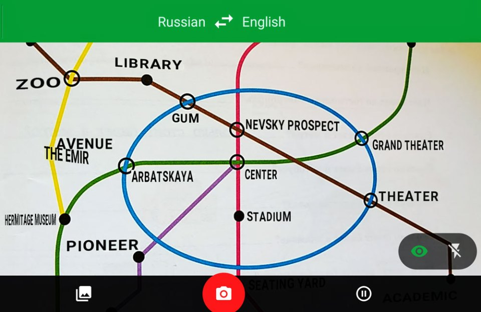 Just hold your camera over the map and Google Translate magically converts Cyrillic Russian text to English!