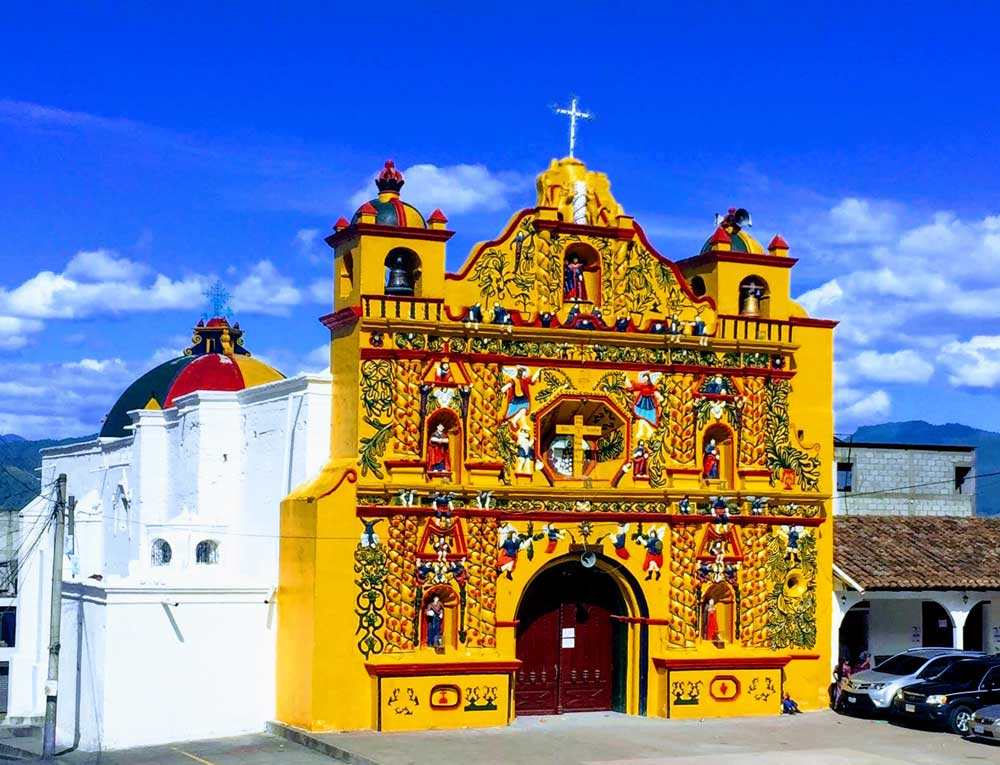 San Andrés Xecul Mayan/Catholic church near Xela, Guatemala