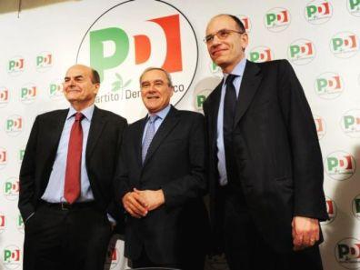 28-12-2012 - Bersani Grasso e Letta dopo la conferenza stampa