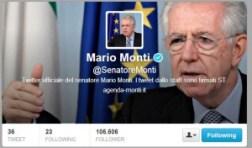Il profilo Twitter di Mario Monti