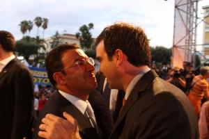 Tonino Gentile con Roberto Occhiuto alla manifestazione pro Scopelliti il primo ottobre 2011