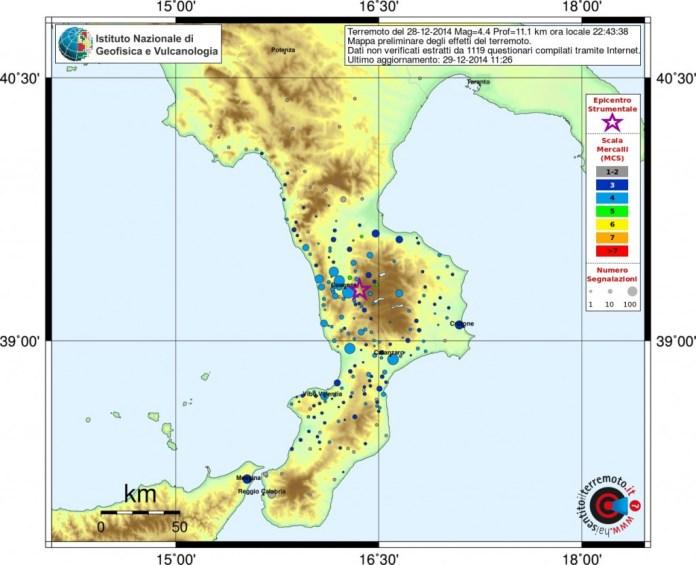 Mappa Terremoto in Sila Cosenza