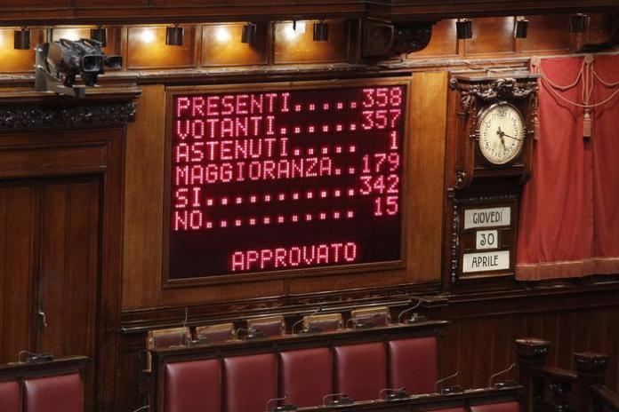 Il tabellone delle votazioni sull'Italicum del 30 aprile 2015
