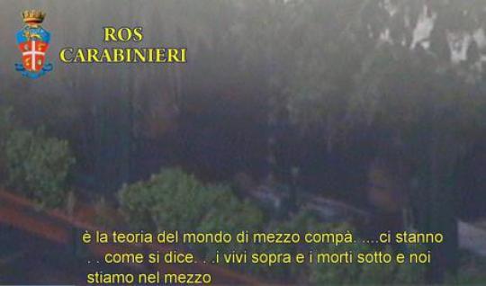 Un frame tratto da un video delle intercettazioni dei Ros dell'operazione del 2 dicembre scorso