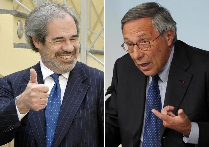 Avvicendamento alla Cassa Depositi e Prestiti. Da sinistra Claudio Costamagna e Franco Bassanini