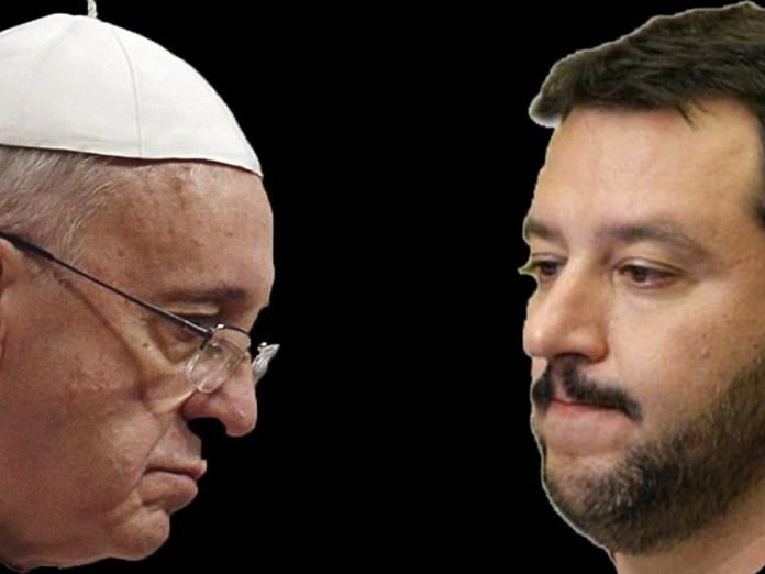 """scontro salvini papa su migranti: """"Quanti ce ne sono in Vaticano?"""""""