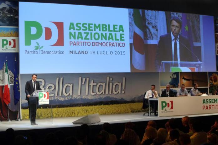 Renzi all'assemblea nazionale del Pd all'Expo di Milano