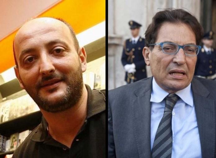 Da sinistra il giornalista de l'Espresso Piero Messina e il governatore della Regione Sicilia Rosario Crocetta