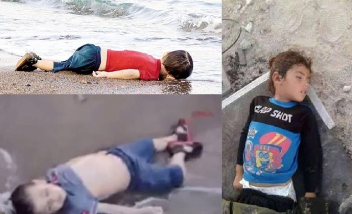 Aylan e Gabin Kurdy. A sinistra la bambina diriana di 4 anni Cesme, Turchia
