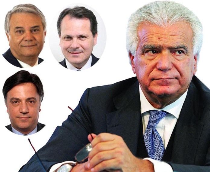 I parlamentari ex FI passati con Ala di Denis Verdini da sinistra Giuseppe Ruvolo, Francesco Saverio Romano e Giuseppe Galati