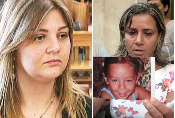 A sinistraJessica Pulizzi, a destra Piera Maggio con la foto della figlia Denise Pipitone scomparsa nel 2004