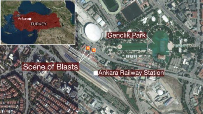 Mappa dove sono avvenute le due esplosioni ad Ankara