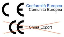 Due esempi a confronto In alto CE originale in basso il marchio contraffatto da prodotti cinesi