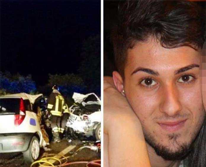 A sinistra il luogo dell'incidente. A destra una delle vittime, Domenico Gianluca Pansino incidente lamezia terme