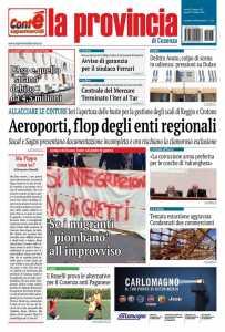 la prima pagina della Provincia di Cosenza del 13 ottobre 2016