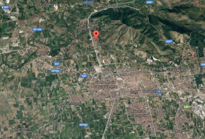 Il punto rosso indica Via Galatina a Santa Maria Capua Vetere