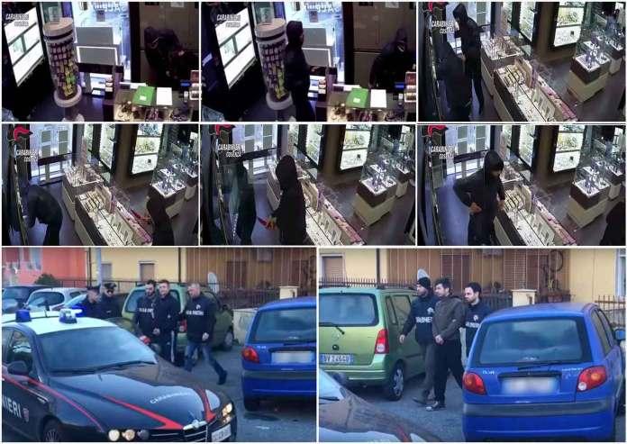 La sequenza della rapina a Stroili Oro a Cosenza. In basso gli arresti fratelli dei fratelli De Grandis