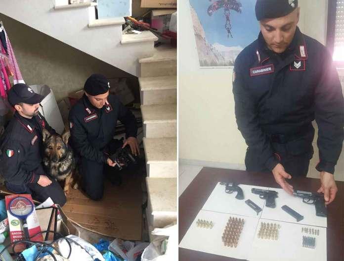 Le armi e le munizioni trovate a Ferdinando Scalise, a Scandale