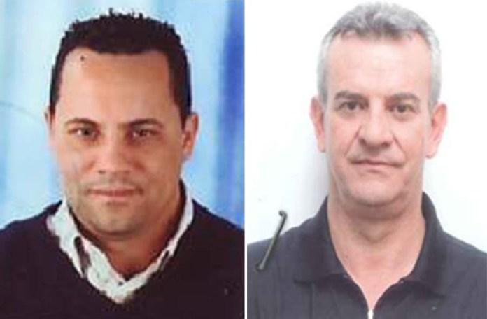 Da sinistra l'agente penitenziario Francesco Cantore e Paolo Lentini, ritenuto reggente del clan Arena