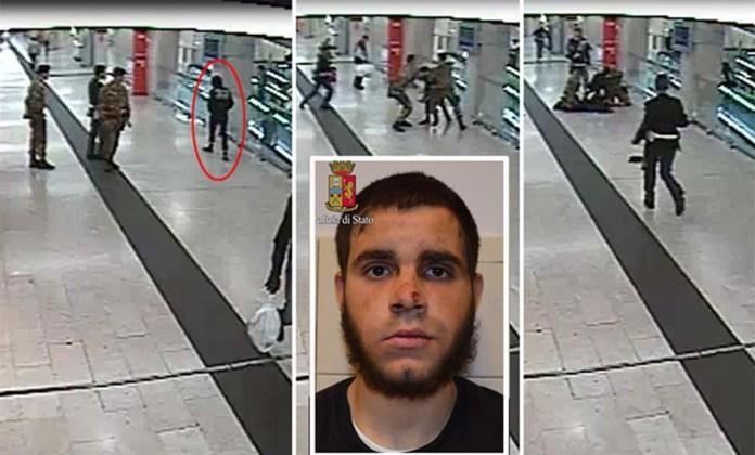 La sequenza dell'aggressione alla stazione di Milano. Nel riquadro Hosni